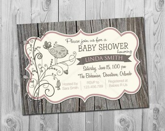Rustic baby shower invitation, Feather the Nest invitations, Digital, Printable Bird Baby shower invites, Boy or Girl, Wood