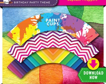 Art Paint Party Cupcake Wrappers | Printable DIY Birthday Cake Decoration | Instant Download | Check our Shop for More Decorations & Invite