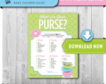 Digital INSTANT DOWNLOAD   Printable Baby Shower Game   What's in your Purse   Tea Party Theme   View our Shop for Games, Invites and Decor