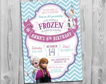 Frozen Invite, Printable, Frozen Party Invite, Girl Birthday Invitation, Blue and Pink Chevron