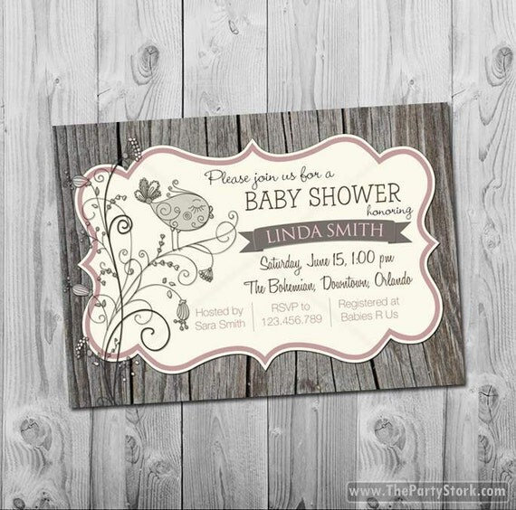 rustic baby shower invitation feather the nest invitations digital