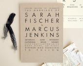 TORVA Rustic Wedding Invitation - Kraft Letterpress Invite Sample - Modern Typography