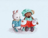 ORIGINAL PAINTING Teddy and Bunny reading