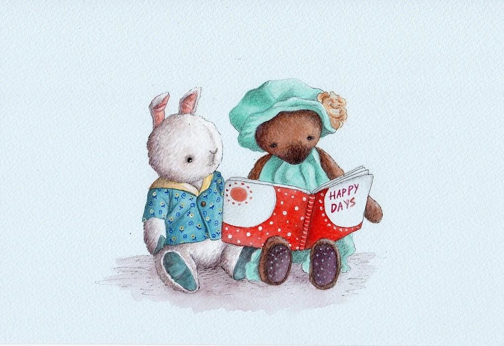 Dear Mr Rabbit Teddy Girl: Nursery Art Print Teddy Bear And Bunny Reading A Story