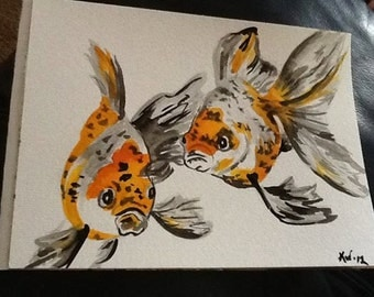 ORIGINAL Watercolor Goldfish painting 5x7