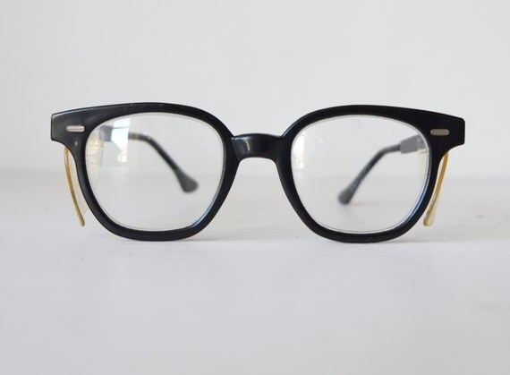 Glasses Invisible Frames : 1950s Bausch & Lomb Black Safety Frame Eyeglasses With
