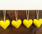 Yellow Felt Heart Ornaments - Valentine's Decorations - set - brazzlefrats