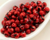 6mm Faceted Beads, Red and Black Fire Polished Glass, Opaque Czech Round Beads (35) last