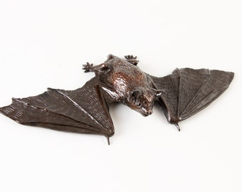 Pipistrelle Bat with wings almost unfolded and ready for flight, open edition bronze