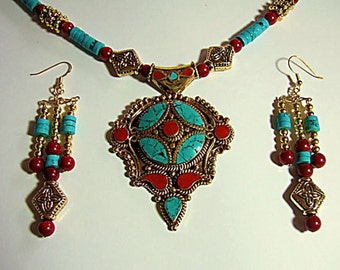 Unusual & Exotic Tibetan Turquoise Necklace Dynamic Red Coral Original Ethnic Jewelry Stunning Unique Necklace Splurge Gift for Her