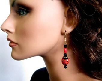 Handmade Red & Black Ladybug Earrings Cute Earrings Red Earrings Cool Earrings Unique Gifts for Her Earrings for Besties Ladybug Jewelry