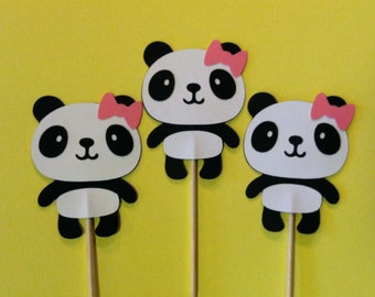 12 panda with bows cupcake toppers, girly panda bear food picks, baby girl shower cupcake toppers
