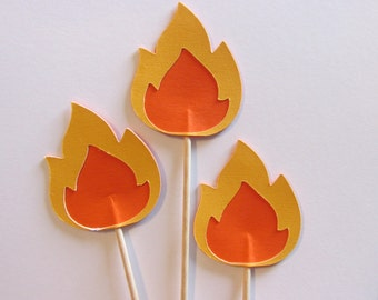 12 fire cupcake toppers-appetizer picks-Fire without logs toppers