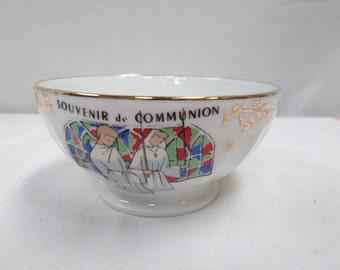 Vintage French Porcelain Communion Café au Lait Bowl (w928)