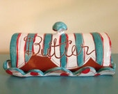 Striped Butter Dish