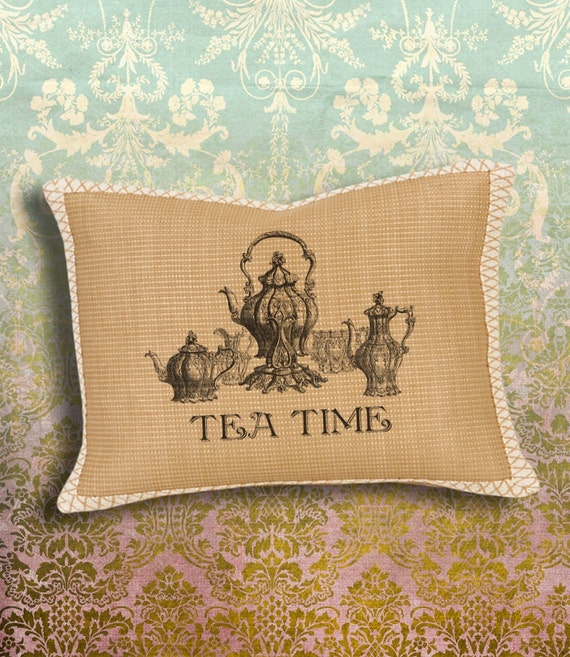 FRENCH TEA TIME - Digital Sheet Printable Image ChikUna Art to print on Fabric / Paper, Iron On Transfer for Tote Bags t-shirts Pillows