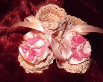 Baby Booties Pink with beads and satin flowers and ribbons