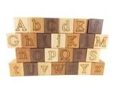 26 Alphabet Building Blocks Natural & Organic -Wooden Toy Blocks