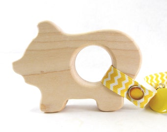 Organic Baby Toy Teether - PIG Shaped Natural Maple Wood Baby Teether Toy - Farm animal piggy