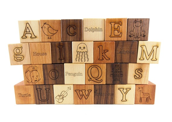26 picture alphabet building blocks natural organic wooden for Greek wooden block letters