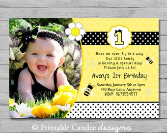 Bumble Bee Birthday Invitation - DIY Custom Printable