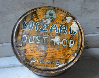 Antique Tin with Lid, Tin Lithograph, Tin Can, Antique Tin, Storage Tin, Round Tin, Industrial, Cleaning, Laundry, All Vintage Man