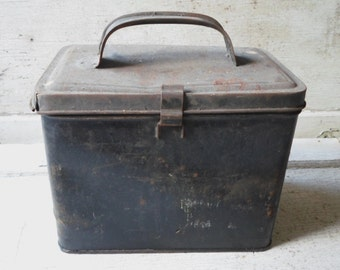 Industrial Storage, Tin Lunch Box, Grey Tin, 1930s, School Supplies, Vintage, Rustic, Storage, Salvage, Repurpose, All Vintage Man
