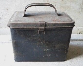 Industrial Storage, Tin Lunch Box, Grey Tin, 1930s, School Supplies, Vintage, Rustic, Storage, Salvage, Repurpose, All Vintage Man, Dub