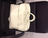 Soft White Leather Laptop Women Bag, Women leather bag