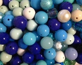 Springin the Blues Bead Detash-100 pieces Round Acrylic Beads Mixed Sizes Colors