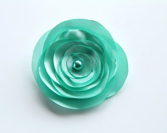 Mint Flower Satin Brooch, Mint Wedding Brooch, Mother of the Bride Accessories