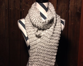 "Unique ""Frost"" Hand Knit Scarf //white//gray//grey"