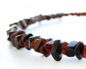 Men's bracelet - black shell and dark amber bracelet - Forest Ember