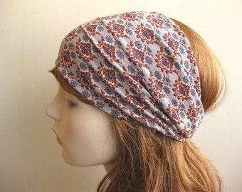 Yoga Headband, Bohemian Head Wrap, Boho Headband, Turband, Grey Floral Print, Soft Stretch Fabric, Womens Hair Accessories