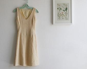 SALE / Yelow  dress, sleeveless summer dress, Midi dress, V neck/  Free shipping