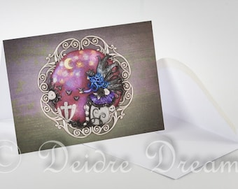 Goth Fairy Card, Greeting Card, Greetings Card, Halloween Card, Graveyard Card, Goth Card, Goth Fairy Decor, Halloween Decor, Goth Decor