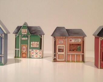 Miniature Painted Wood Village