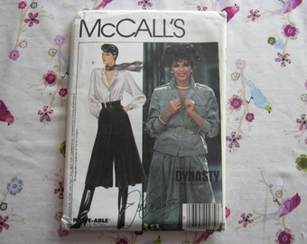 McCall's 9244 Pattern Dynasty Misses' Top,Culottes and Belt 6-16 Vintage