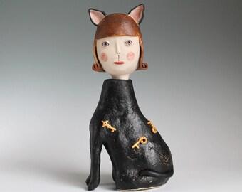 Ceramic Cat Girl. Handbuilt Sculpture, original Ceramic Sculpture, Black Cat Art Figure