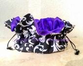 Bride / Bridesmaids Gifts / Jewelry Organizer / Drawstring Jewelry Pouch /Jewelry Box Holder/ Travel Bag / Black & White Scroll Purple Satin