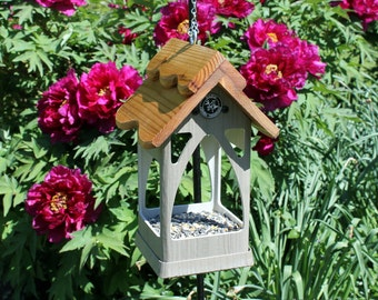 outdoor hanging PVC bird feeder - unique style - wishing well - fully functional - handmade -  USA made - ez clean - ez fill - open viewing
