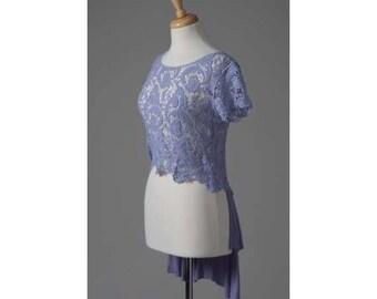 Women's clothing repurposed crochet purple top with train S