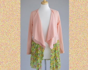 Women's shabby chic light-weight jacket blazer peach green flowers M-L