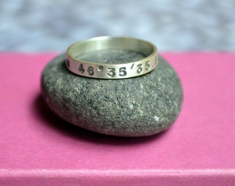 Skinny Latitude Longitude Ring in Sterling Silver, Location Ring, Ring with Coordinates, Gift for her, Anniversary gift, Graduation gift
