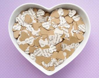1000 Heart Novel Kraft Confetti Mix - 23 book choices - Alice in Wonderland, Jane Austen, Harry Potter, Roald Dahl, Shakespeare - Decor