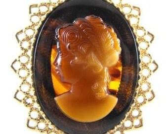 Stylish Cameo Brooch Tortoiseshell Lucite Pendant Converter Gold Tone Rococo Mount