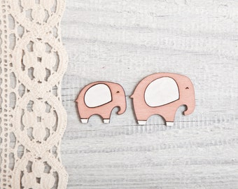 Elephant brooches, Mom elephant and baby elephant, Many color variations, Set of two brooches
