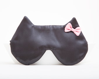 Satin Sleep Mask, Cat Pink Bow Girlfriend Gift Black Cats Bachelorette Party Favors Best Bridesmaid Gift Blindfold Travel Eye Mask