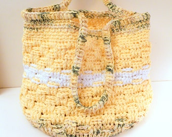 Deluxe OOAK Beach Bag, Extra Large Crocheted Tote Bag with Shoulder Strap, Sunny Yellow Combo perfect for Summer!