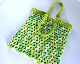 One of a kind, Eco Friendly, Reusable Market Tote, Fun Crocheted Cotton Beach Bag,  Double Strength Crochet Bag in green, white and yellow